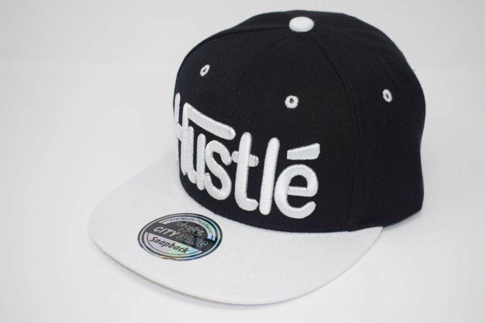C4858-Hustle Black/White Snapback Caps, one size fits all adjustable